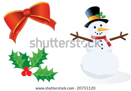 Winter / Christmas Collection with Snowman, Bow, and Holly