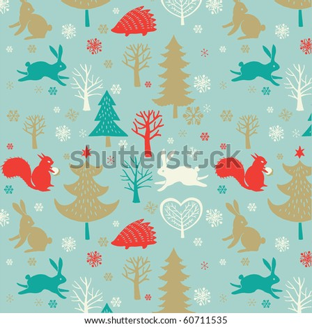 Winter Christmas forest seamless pattern