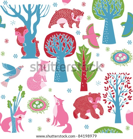 Winter Christmas forest with animals - stock vector