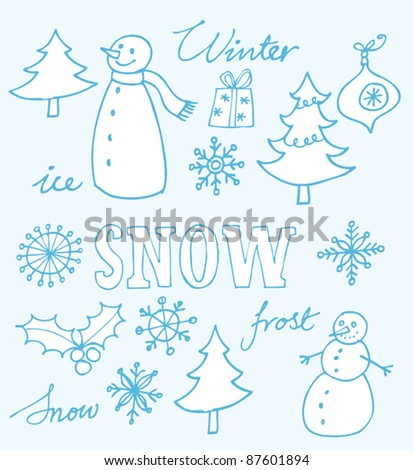 Winter Christmas icons doodles - stock vector