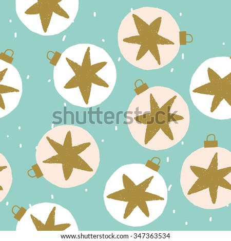 Winter Christmas illustration with decoration balls, stars and snow. Vector seamless pattern on the green background. White, golden and green colors.