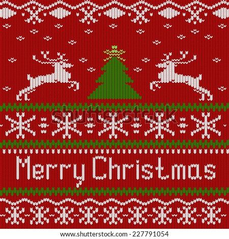 Winter Christmas knitted pattern, vector illustration - stock vector