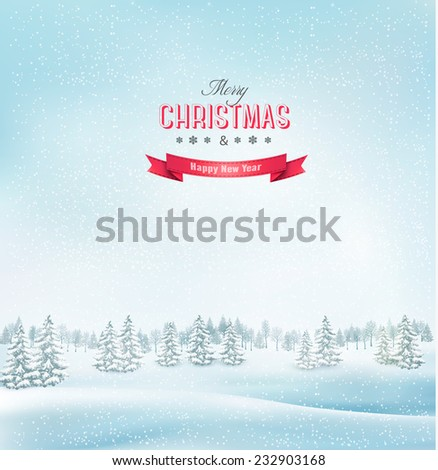Winter christmas landscape background. Vector. - stock vector