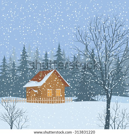 Winter Christmas Landscape, Rustic House on Snowy Forest Edge. Vector