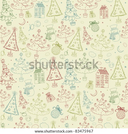 Winter Christmas pattern - stock vector