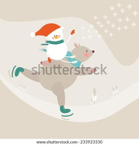 Winter. Christmas. Polar bear on skate snowman. illustration - stock vector