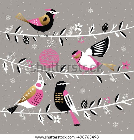 Winter Christmas Print Design with cute birds