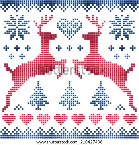 Winter, Christmas red and navy pattern card - stock vector