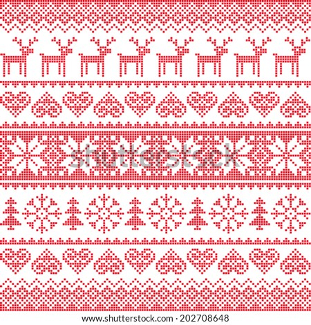 Winter, Christmas red seamless pixelated pattern with deer  - stock vector
