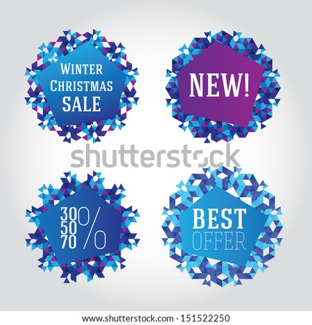 Winter Christmas sale design elements. Abstract triangle snowflakes - stock vector