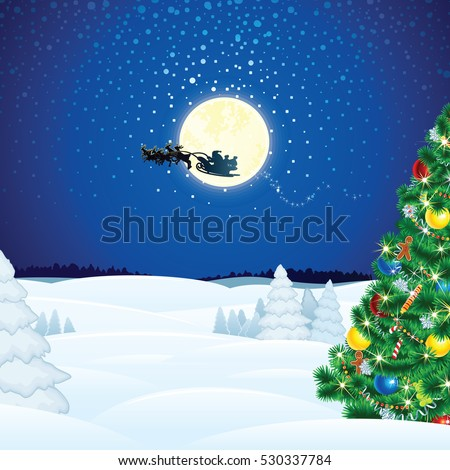 Winter Christmas Scene with Santa Sleigh Flying over Full Moon. Vector Xmas