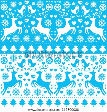 Winter, Christmas seamless blue pattern with reindeer - folk style - stock vector
