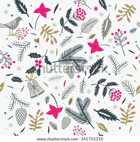 Winter Christmas Seamless Pattern - stock vector