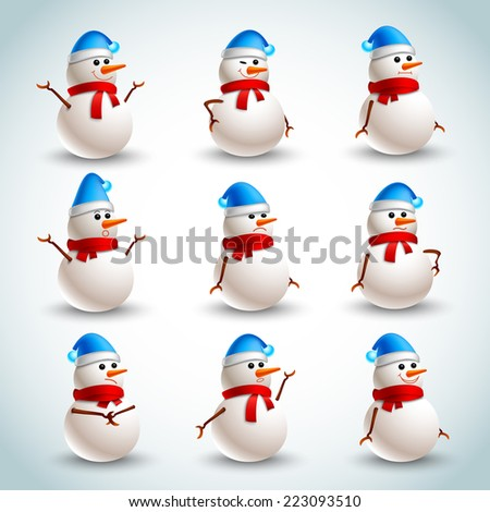 Winter christmas snowman emotions icons set isolated vector illustration - stock vector