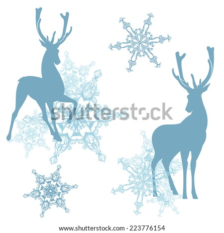 winter christmas theme decor with deers and snowflakes - vector design elements set