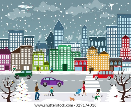 Winter Christmas urban landscape. View of city street with industrial buildings and shopping centers. Roadway with car traffic and pedestrians on the sidewalk in the foreground - stock vector