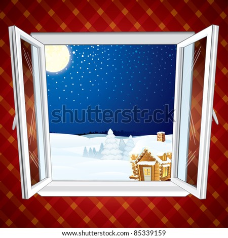 Winter Christmas winter scene through opened window, vector illustration - stock vector