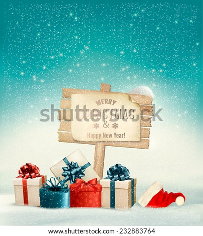 Winter christmas with a sign, gift boxes and a santa hat background. Vector. - stock vector