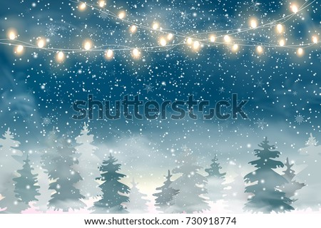 Winter Christmas Woodland Landscape with Falling snow, snowflakes,  coniferous forest, light garlands.