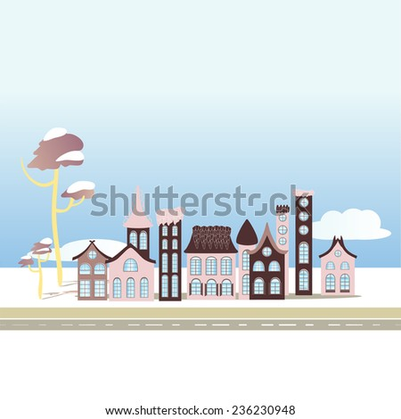 Winter City Houses Illustration