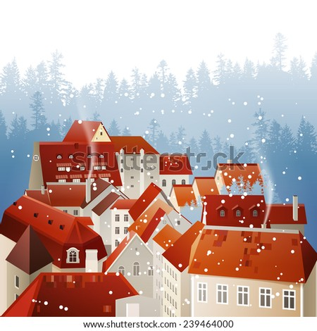 Winter city landscape with tiled roofs - stock vector