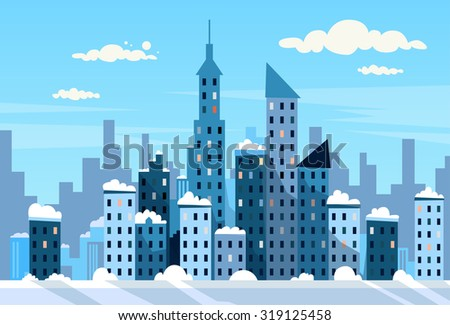 Winter City Skyscraper View Cityscape Snow Skyline Vector Illustration - stock vector