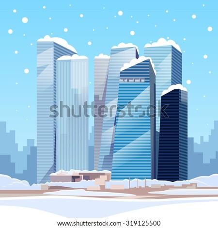 Winter City Skyscraper View Cityscape Snow Skyline Vector Illustration - stock vector