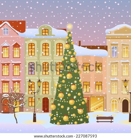 Winter city with christmas tree. Vector