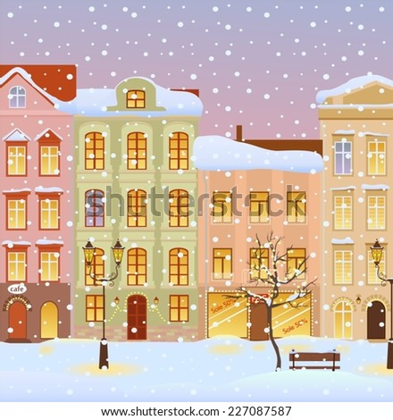 Winter city with lights. Vector