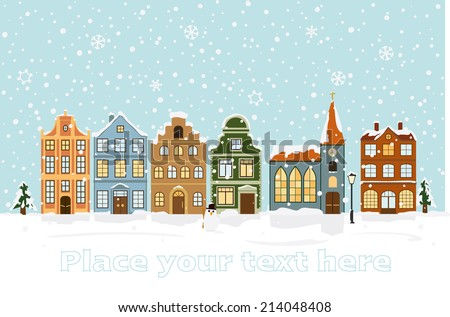 Winter Cityscape Vector Illustration with space for text. Snow-covered townhouses and church on main street. - stock vector