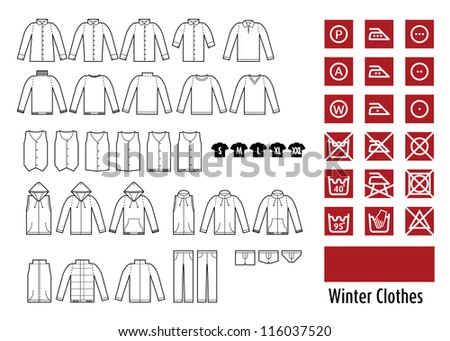 winter clothes and clothes icon.