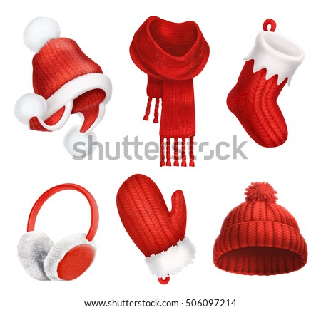 Winter clothes. Knitted hat. Christmas sock. Scarf. Mitten. Earmuffs. 3d vector icon