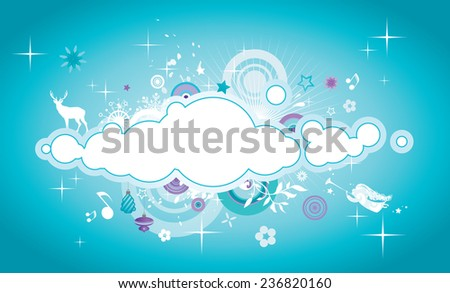 Winter cloud with Christmas elements and copy space. - stock vector