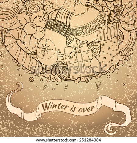 Winter collection. Winter icons vintage circle composition. Vector file organized in layers for easy editing. Design element for card. Winter is over background.