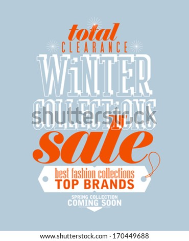 Winter collections sale typographic design in retro style. - stock vector