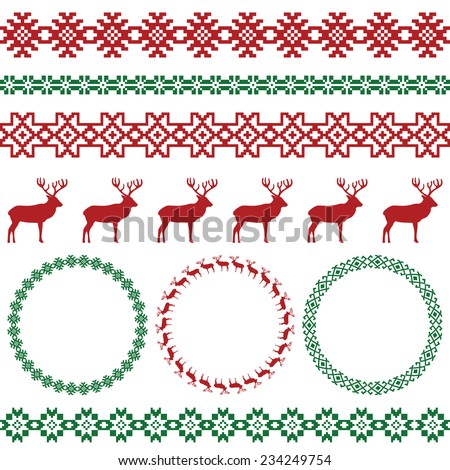 Winter colorful holiday set on white background. Deer and snowflake, nordic round holiday decoration patterns. Could be used for web, cards, decorations, etc. Vector illustration  - stock vector