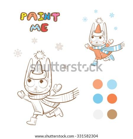 Winter coloring book with cartoon  rabbit. Vector image. - stock vector