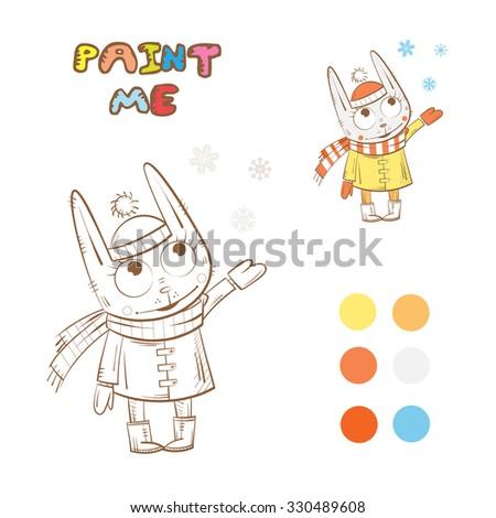 Winter coloring book with cute cartoon  rabbit. Vector image. - stock vector