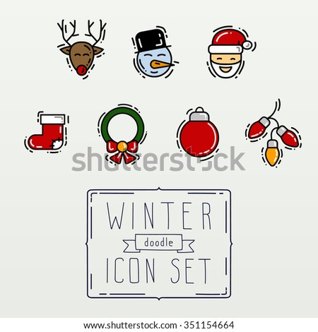 Winter colour thin line hand drawing icons and elements. New Year and Christmas. Doodles objects and Cartoons - stock vector