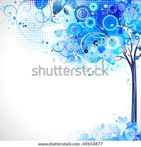 winter composition with blue snow tree