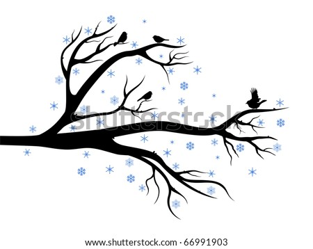 Winter composition with branch of tree and birds on it - stock vector