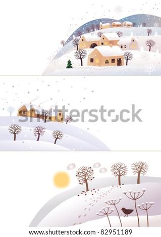 Winter corners - stock vector