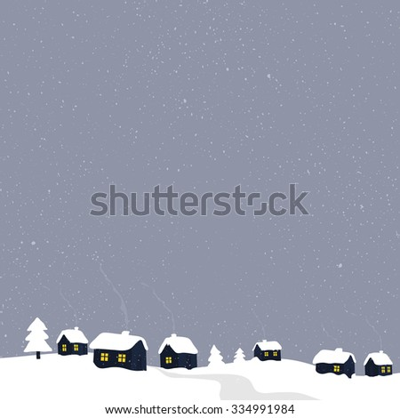 Winter countryside with village houses. Greeting card illustration. - stock vector