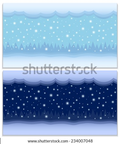 Winter day and night two vector seamless backgrounds. Cartoon winter landscapes with the snow, clouds, falling snowflakes and forest in the distance at the day and night, vector EPS8. - stock vector