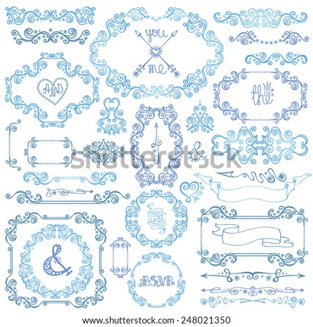 Winter decor set.Swirl Border,Snowflakes, frame,dividers,arrows.Love Decorative elements.Christmas,Valentines day,new year,wedding doodles vector.For card,invitations,template - stock vector