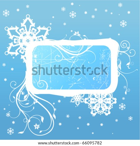 winter decoration frame - stock vector
