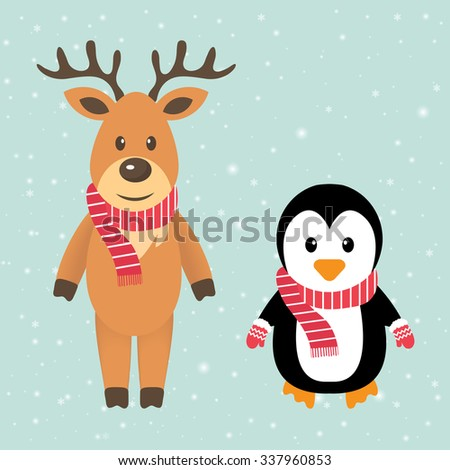 winter deer and penguin with scarf