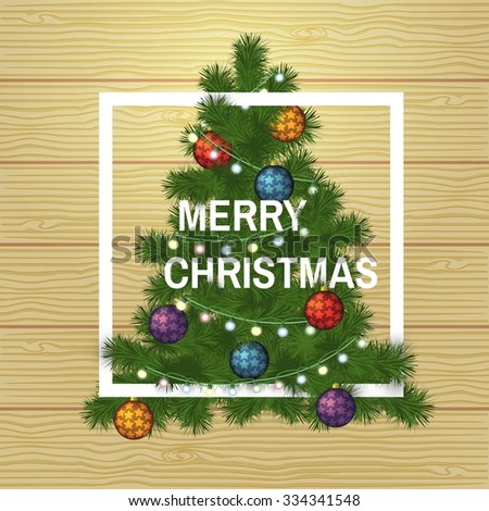 Winter design with christmas tree on wooden background. Merry Christmas vector illustration. - stock vector