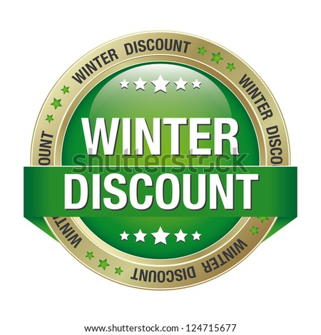 winter discount green gold button isolated background