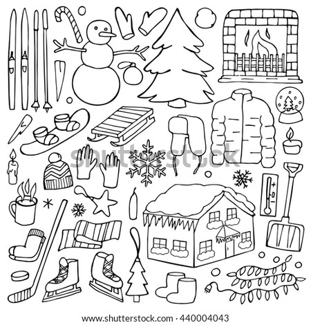 Winter doodle hand drawn elements